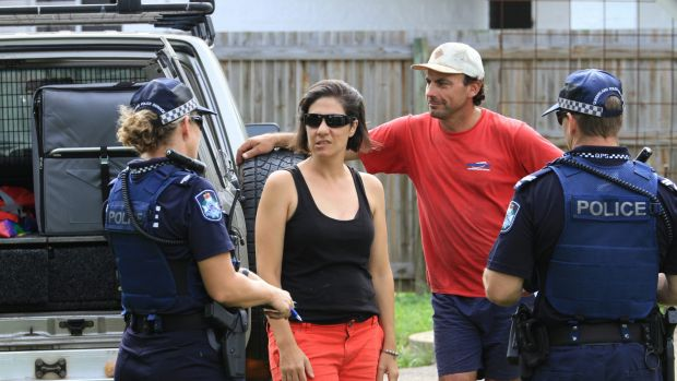 Lauretta and Nev Grasso are staying in Cungulla despite police urging evacuations.