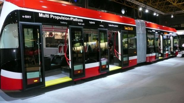 The Inner West Council wants track-free trams, like the one pictured, to carry commuters along Parramatta Road.