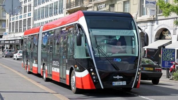 Cleaner than a bus and cheaper than light rail, track-free trams, like the one pictured above, could be shuttling ...