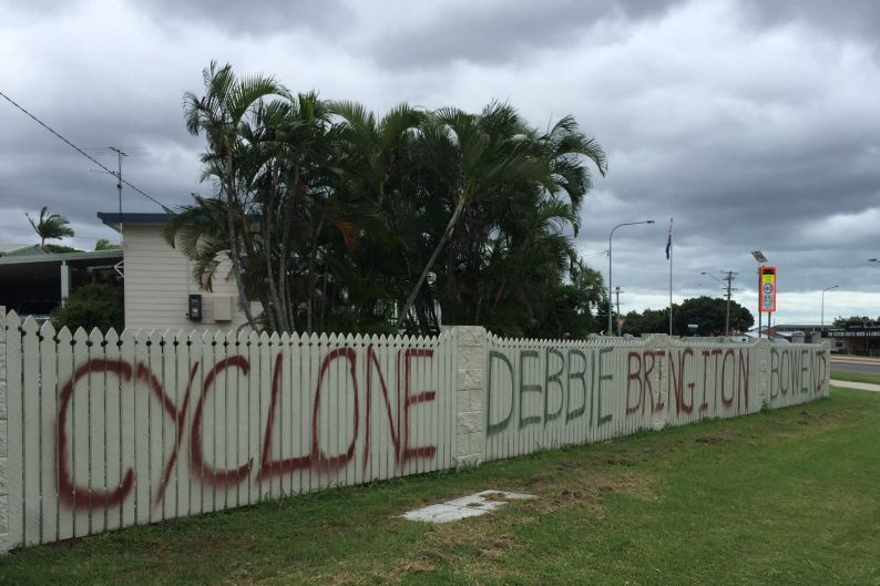 The message to Cyclone Debbie from Bowen, which is 'not a pussy town'.