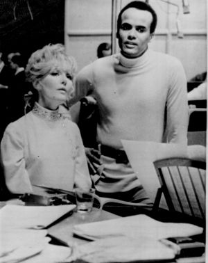 Petula Clark and Harry Belafonte during rehearsals for her US television special during which Clark touched Belafonte on ...