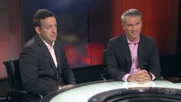 James Brown and Tom Switzer appearing together on ABC's Lateline in 2014.