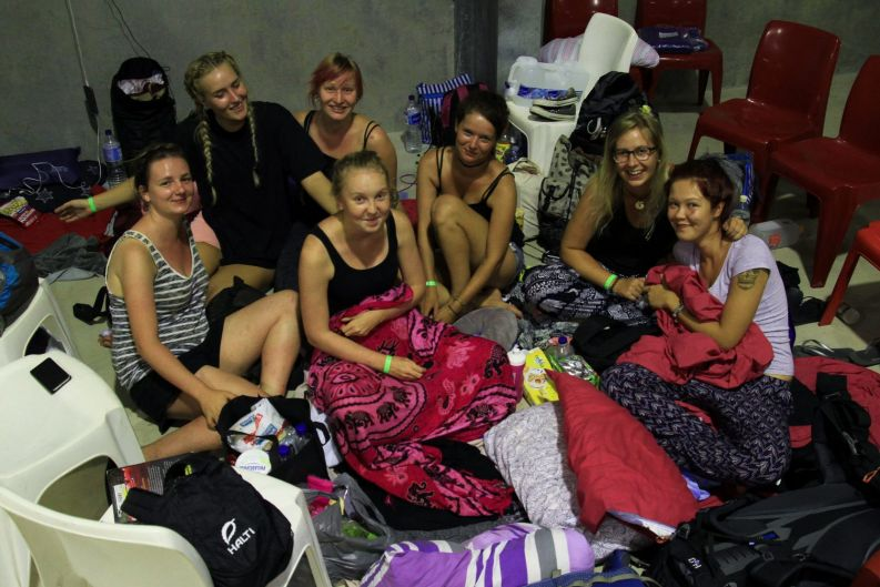 Backpackers at the Ayr Cyclone Shelter brace for Cyclone Debbie's arrival.