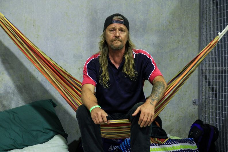 Steve Siltanen waits out Cyclone Debbie in the Ayr Cyclone Shelter.