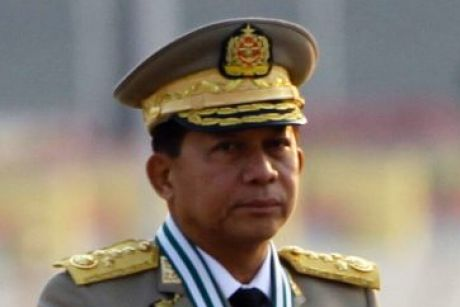 Myanmar's commander-in-chief, General Min Aung Hlaing at a parade to commemorate the Armed Forces Day in Naypyitaw on Monday.