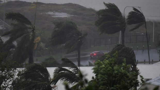 Strong winds and rain lash Airlie Beach as Cyclone Debbie hit on Tuesday.