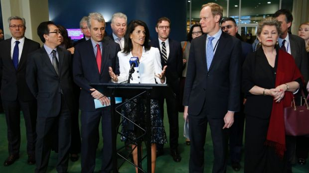 US ambassador to the United Nations Nikki Haley, centre, leads a boycott of nuclear weapons talks by diplomats from 20 ...