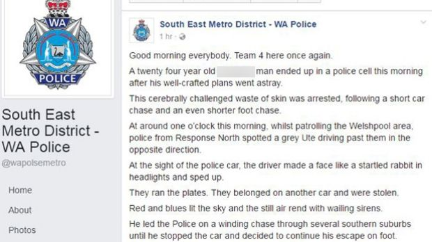 The post mocking an alleged offender was on the network for over three hours.
