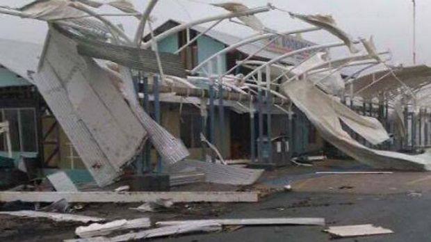 Buildings were destroyed at Shute Harbour as Cyclone Debbie pounded Airlie Beach.