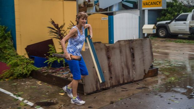 Cleaning up the debris at the Sky View Units on the foreshore of Bowen.
