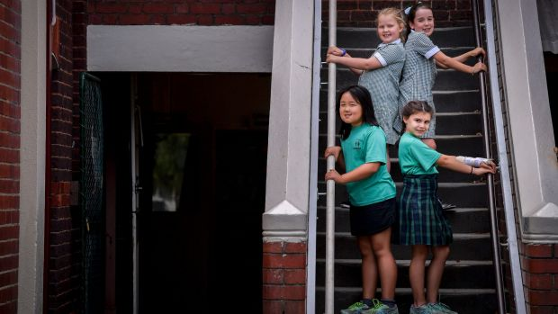 Year 3 and 4 students, Sally, Elena (front left to right) Polly, Alyssa (rear left to right) at Yarra Primary School.