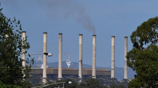Last smoke from the chimneys at the Hazelwood power station, Morwell.