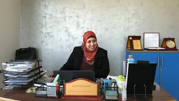 Aesha Abu Shaqfa works at the Future Development Commission, one of many local NGOs seeking to further women's rights in ...