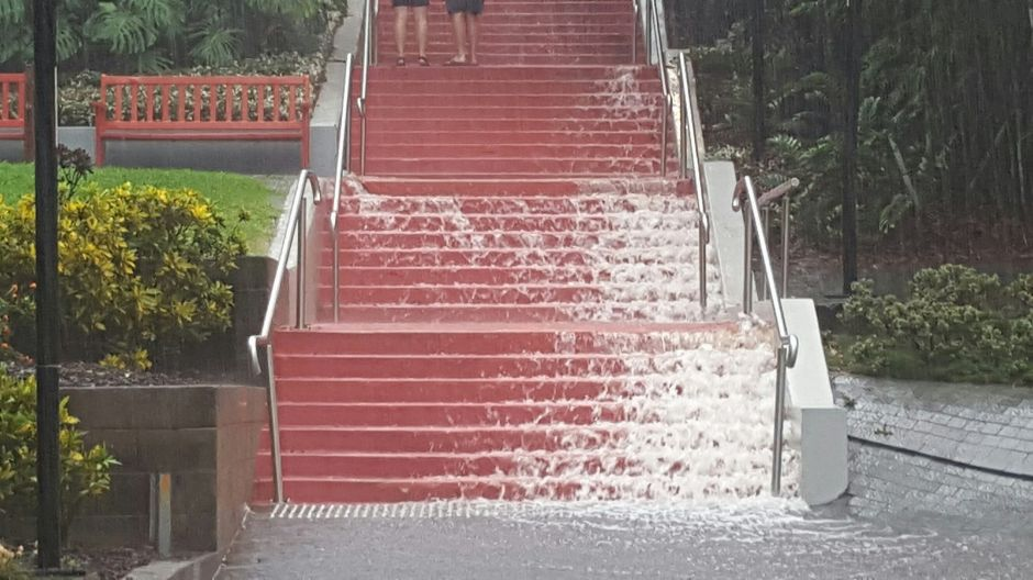Jacob's Ladder in Brisbane's CBD has been transformed into a waterfall.