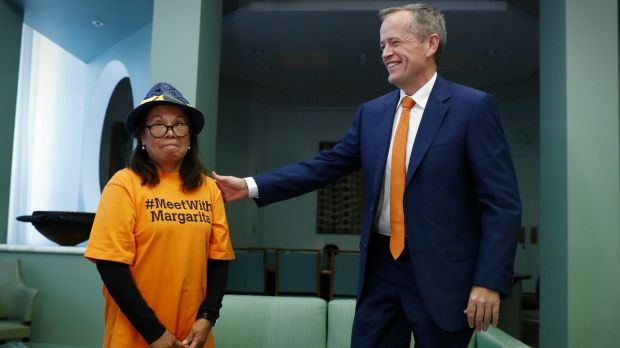 Opposition Leader Bill Shorten meets with hotel cleaner Margarita Murray-Stark in his office at Parliament House on Thursday.