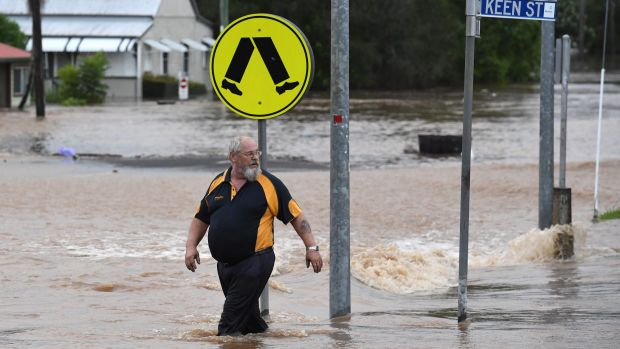 Lismore's CBD is flooded after the Wilsons River breached its banks early on Friday.