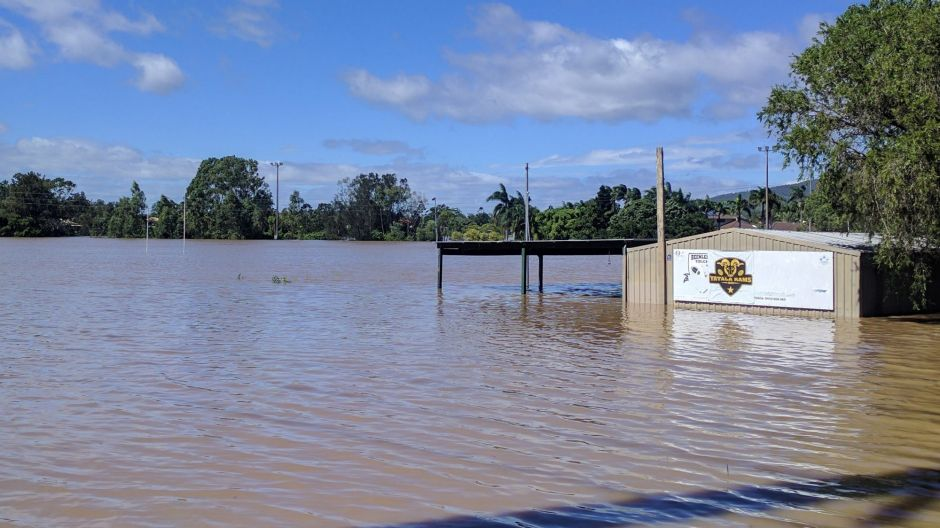The field for the Beenleigh and District Bears and Junior club Yatala Rams was underwater.