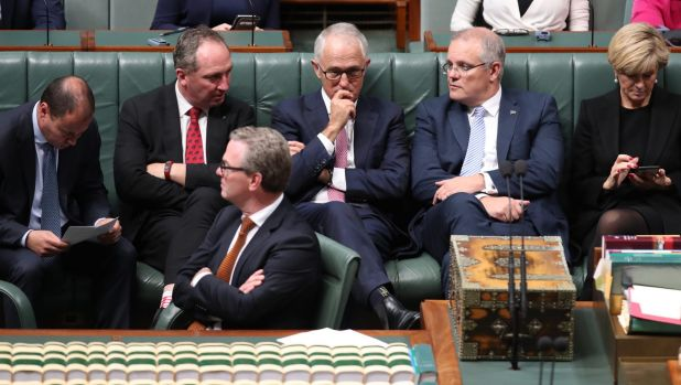 Waiting game: Prime Minister Malcolm Turnbull with frontbenchers Josh Frydenberg, Barnaby Joyce, Christopher Pyne, Scott ...