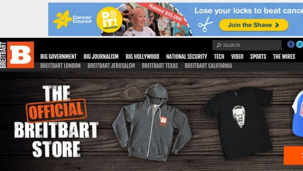 Cancer Council ads appeared on the Breitbart News Network website due to programmatic advertising. The site has since ...