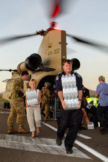 Defence brings supplies into cyclone-affected areas in North Queensland.