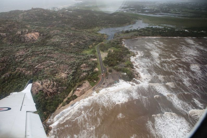 The Australian Defence Force surveying the North Queensland coast in the wake of Cyclone Debbie.