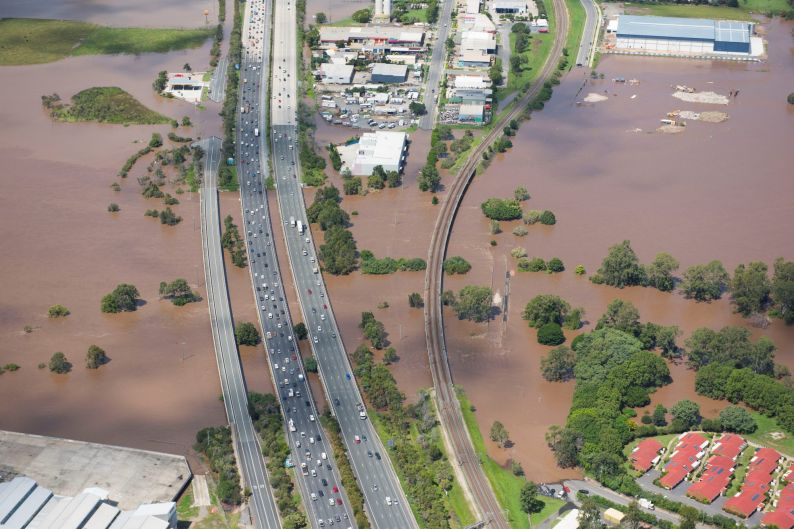 An aerial photo taken on Friday shows flooding in the region.