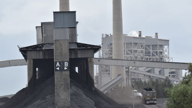 Coal dumping at Vales Point power station, Lake Macquarie.