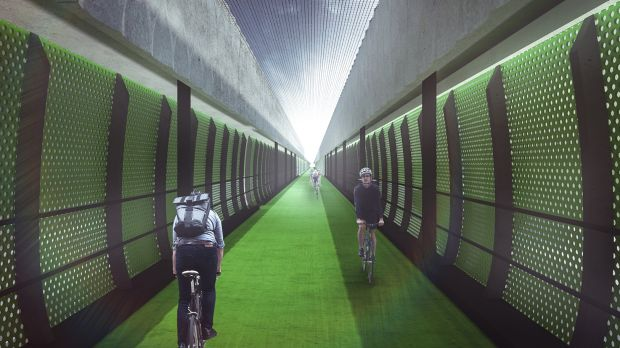 An artist's impression of the express veloway planned for above Footscray Road.