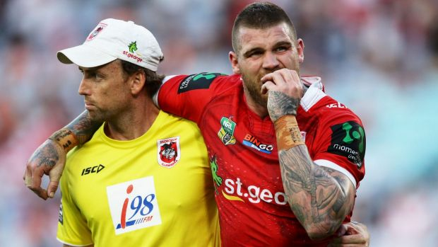Setback: Josh Dugan goes off with a suspected hamstring injury.