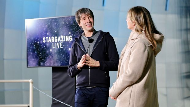 Professor Brian Cox (left) rehearsing with Julia Zemiro for ABC's Stargazing Live at Siding Spring observatory near ...