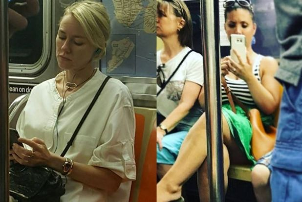 """The beautiful Naomi Watts on the subway today,"" the fan wrote when she shared the picture on the left to her Instagram. ..."