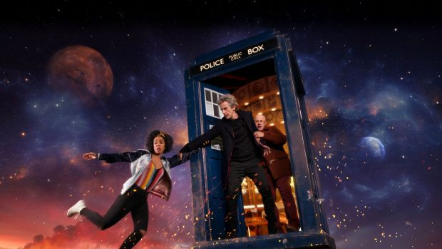 Bill (Pearl Mackie), The Doctor (Peter Capaldi), and Nardole (Matt Lucas) in <i>Doctor Who</i>.