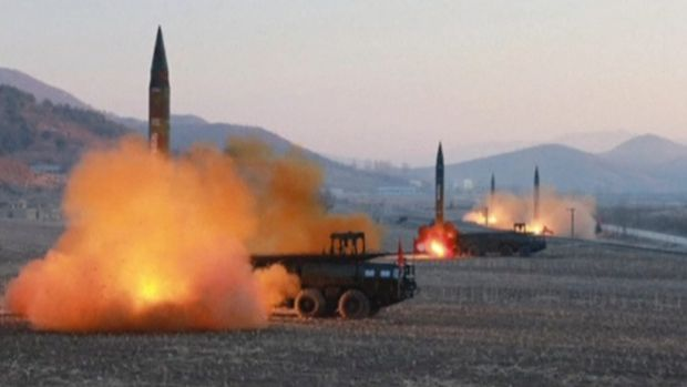 File footage of a North Korean missile launch at an undisclosed location in March.