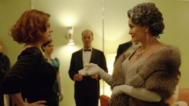 Susan Sarandon as Bette Davis, left, and Jessica Lange as Joan Crawford in a scene from Feud.