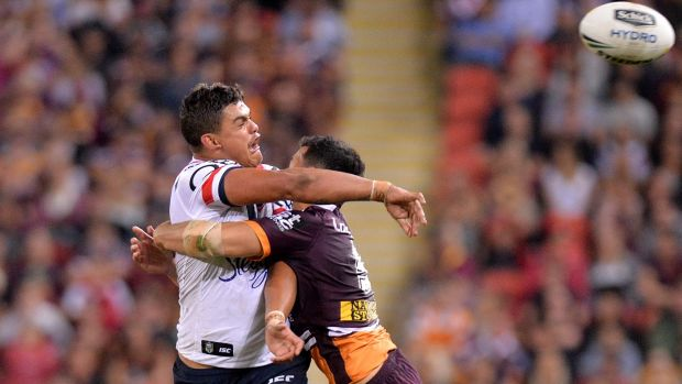 Scrambling: Latrell Mitchell of the Roosters.