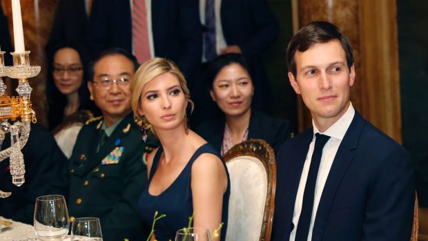 Ivanka Trump and husband Jared Kushner, with Chinese president Xi Jinping at Mar-a-Lago.