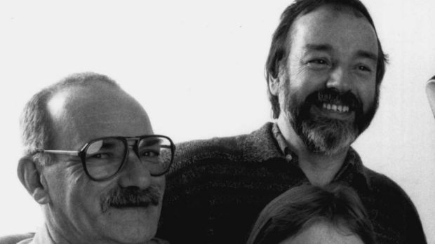 Peter Bonsall-Boone (far left) and Peter de Waal (far right) in 1990. Their publishing ventures, along with the ...