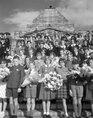 Children attend the Anzac Day service at Melbourne's  Shrine of Remembrance in 1961.