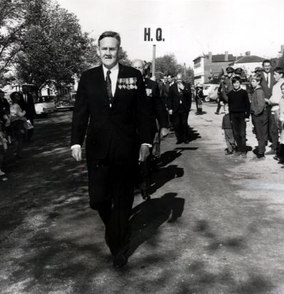 Prime Minister John Gorton, who served in the RAAF in the Second World War, leads the march in Ballarat in 1968.