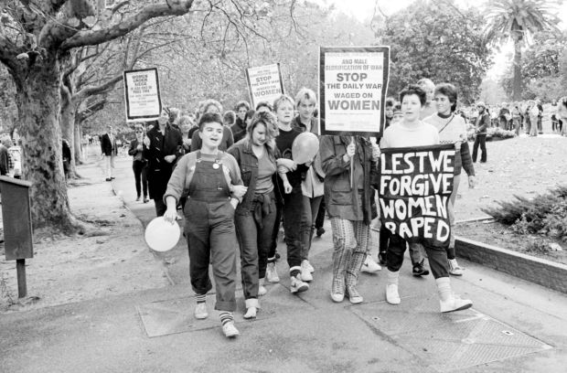 Part of the anti-Anzac Day protest in Melbourne in 1984. About 100 women were involved.
