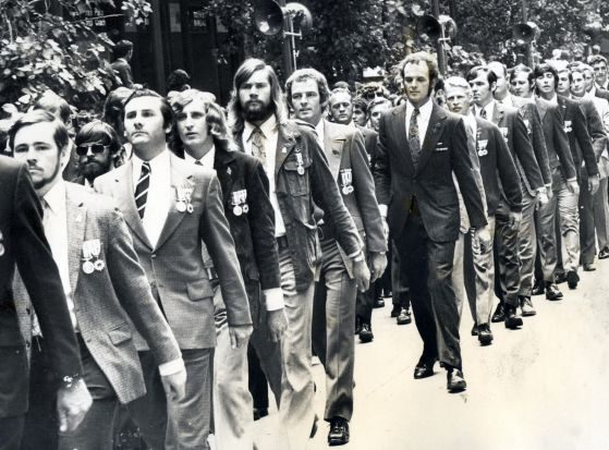 Young veterans of the Vietnam War, join the march in Sydney in 1974.