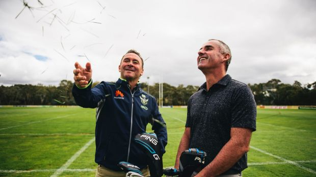 Canberra golfer Matt Millar made a mad dash across Queensland for a hit with the Canberra Raiders.