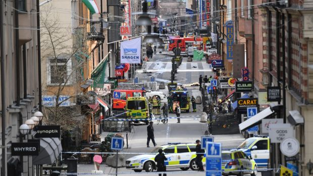 The chaotic scene in central Stockholm after a truck drove through pedestrians and into a department store.