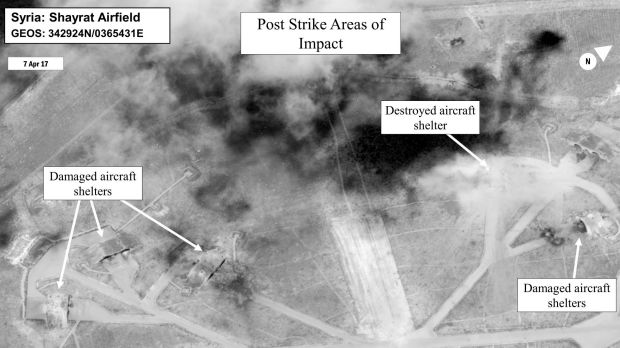 This satellite image shows a damage assessment image of Shayrat air base in Syria.