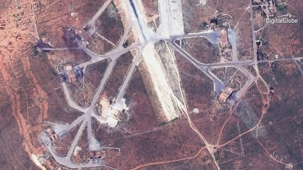 Destroyed aircraft shelters in Syria, following strike orders from Donald Trump.