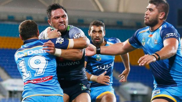 Canberra Raiders winger Jordan Rapana scored a first-half hat-trick to set up the big win over the Gold Coast Titans.