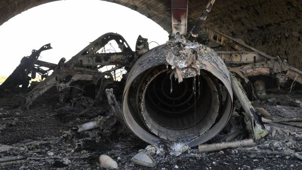 The aftermath: A plane burned as a result of the US missile attack on an air base in Syria.