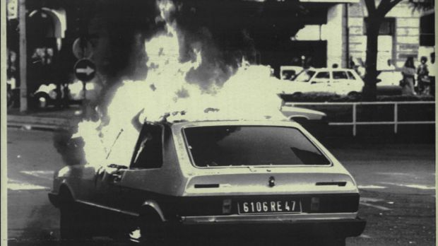 A French licensed car burns in the street after it was set ablaze in San Sebastian in 1987. Police believed it to be the ...