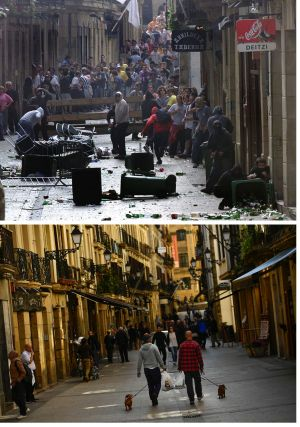 In this two photo combo, masked pro-independence followers of the Basque armed separatist group ETA, prepare to fight ...