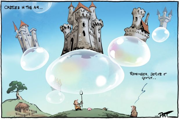 The?Canberra Times?editorial cartoon for Monday, April 10, 2017. castles in the sky. housing bubble